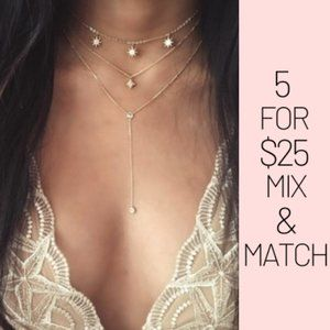 Jewelry - 5 for $25 Three Layer Crystal Star Choker Necklace